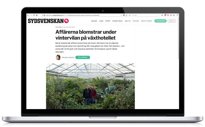 sydsvenskan reportage lilla toscana växthotell
